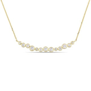 Miadora Signature Collection 14k Yellow Gold 1/2ct TDW Diamond Clustered Bar Necklace