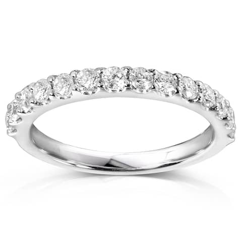 Annello by Kobelli Platinum 1/2ct TDW Lab Grown Diamond Semi Eternity Band (DEF/VS)