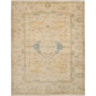 eCarpetGallery Hand-knotted Royal Ushak Khaki Wool Rug - 8'0 x 10'2