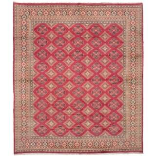 eCarpetGallery Hand-knotted Peshawar Bokhara Dark Pink Wool Rug - 9'1 x 10'9