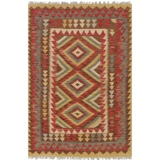 eCarpetGallery  Flat-weave Anatolian FW Dark Brown, Dark Burgundy Wool Kilim - 3'3 X 4'11