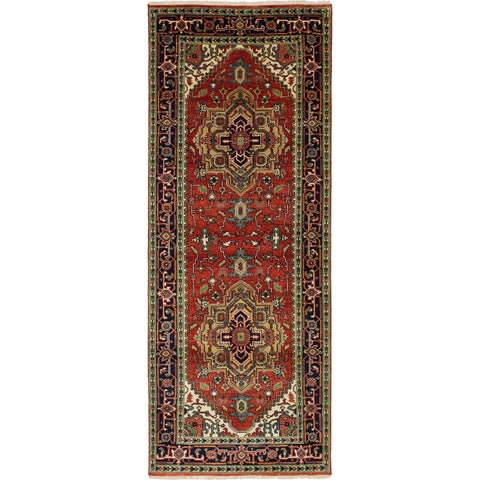 eCarpetGallery Hand-knotted Serapi Heritage Red Wool Rug - 4'0 x 10'5