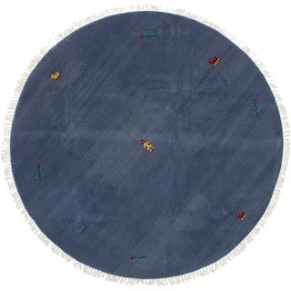 eCarpetGallery Hand-knotted Indian Gabbeh Slate Blue Wool Rug - 6'1 x 6'1