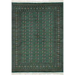 eCarpetGallery Hand-knotted Peshawar Bokhara Dark Green Wool Rug - 6'3 x 8'9