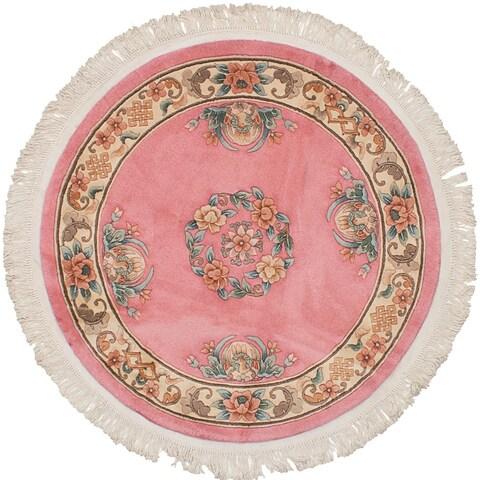eCarpetGallery Hand-knotted Aubousson Dark Pink Wool Rug - 4'1 x 4'1
