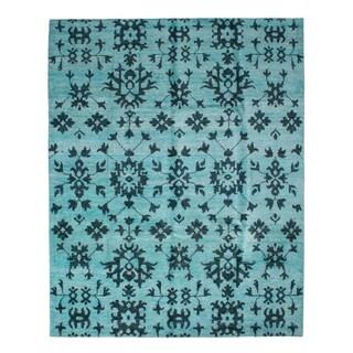 eCarpetGallery  Hand-knotted Sari Silk Light Baby Blue Silk Rug - 8'1 x 10'1
