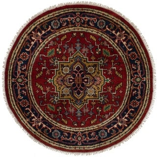 eCarpetGallery Hand-knotted Serapi Heritage Red Wool Rug - 4'0 x 4'0