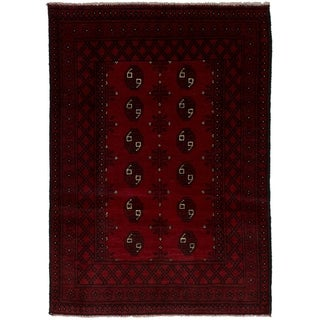 eCarpetGallery  Hand-knotted Khal Mohammadi Red Wool Rug - 3'5 x 4'9