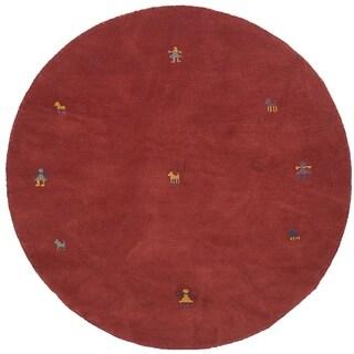 eCarpetGallery Hand-knotted Indian Gabbeh Dark Copper Wool Rug - 6'1 x 6'1