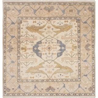 eCarpetGallery Hand-knotted Royal Ushak Cream Wool Rug - 8'1 x 8'3