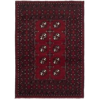 eCarpetGallery  Hand-knotted Khal Mohammadi Dark Burgundy Wool Rug - 3'5 x 4'10
