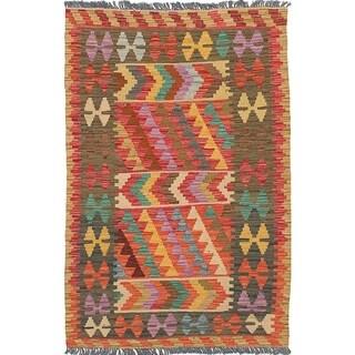 eCarpetGallery  Flat-weave Hereke FW Red Wool Kilim - 3'1 x 4'11