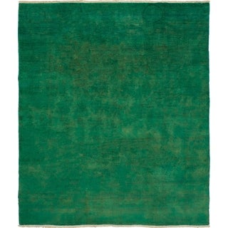 eCarpetGallery  Hand-knotted Vibrance Green Wool Rug - 7'10 x 9'1