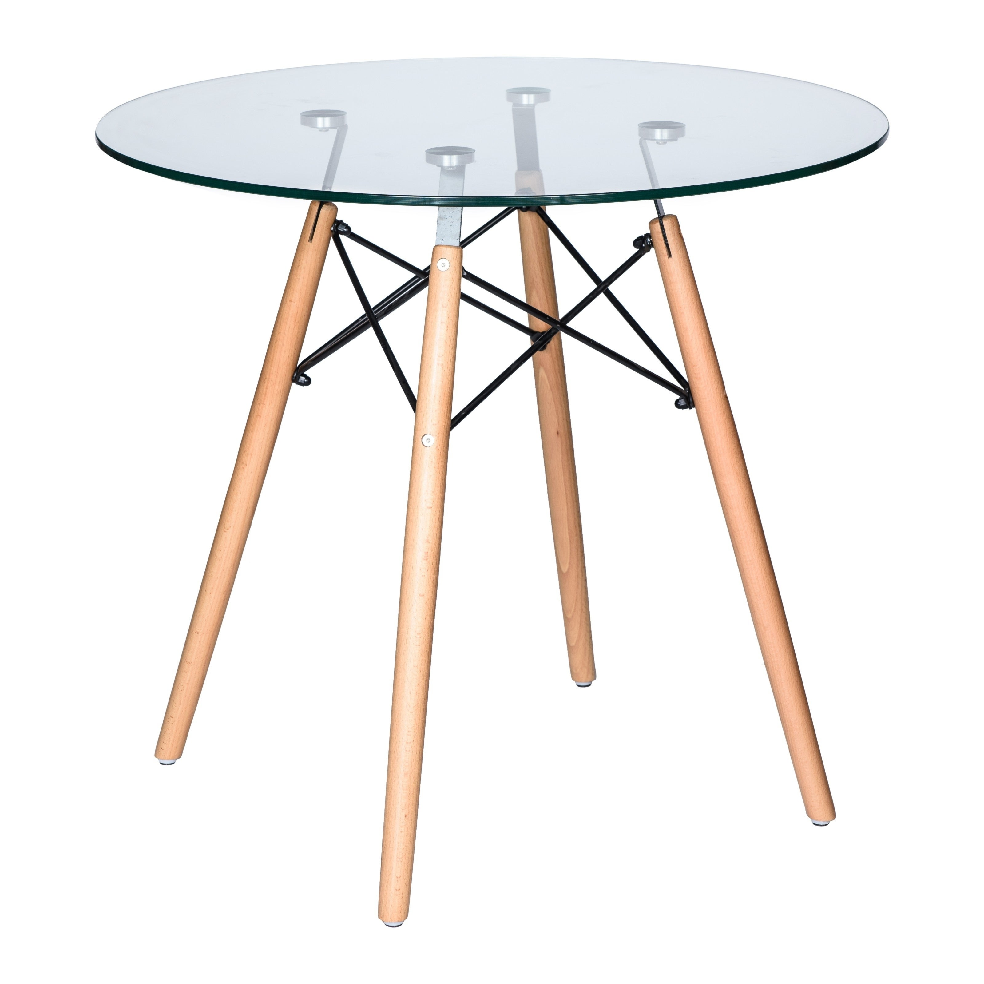 Leisuremod Dover Round Bistro Glass Top Dining Table Wood Eiffel Base Clear On Sale Overstock 22717063
