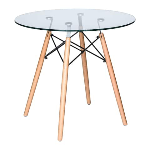 LeisureMod Dover Round Bistro Glass Top Dining Table Wood Eiffel Base - Clear