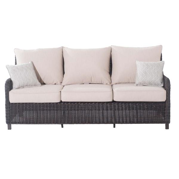 Shop Sunjoy Dighton Wicker Outdoor Sofa - Free Shipping ... on Safavieh Outdoor Living Granton 5 Pc Living Set id=16209