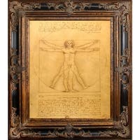 Leonardo Da Vinci 'Vitruvian Man' Hand Painted Oil Reproduction