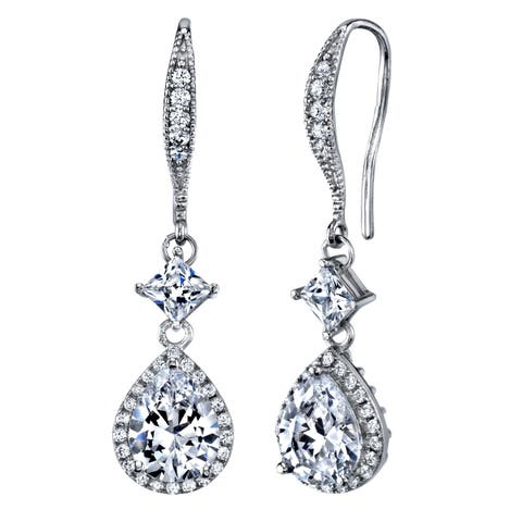 Oliveti Women's Sterling Silver 925 Cubic Zirconia 4 Ctw Teardrop Bridal Dangle Earrings