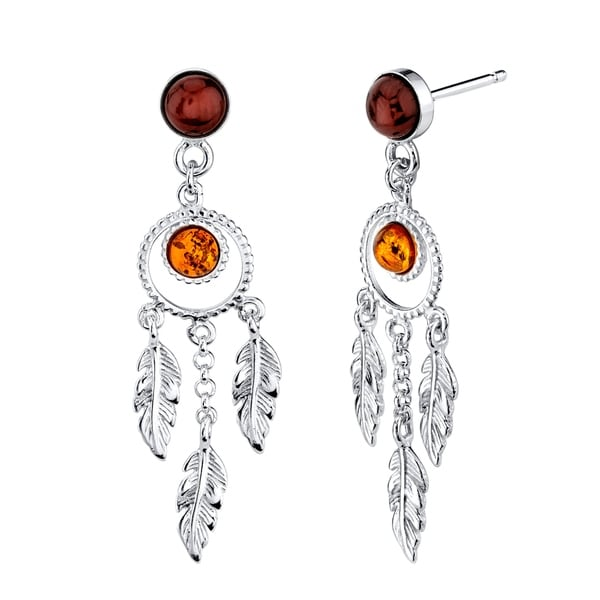 5926dfcb7105b Oliveti Women's Sterling Silver 925 Dangle Drop Baltic Amber Dreamcatcher  Earrings Feathers