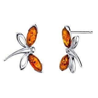 Oliveti Women's Sterling Silver 925 Cognac Baltic Amber Dragon Fly Earrings