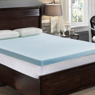 LoftWorks 3 inch Jelly-Soft Cool Gel Memory Foam Topper with Ventilation and Extra Soft Pressure Relief (T - BLue