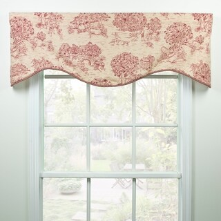 Provence red toile shaped valance