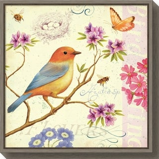 Canvas Art Framed 'Birds and Bees II' by Daphne Brissonnet