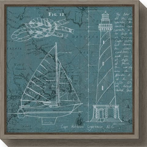 Canvas Art Framed 'Coastal Blueprint III' by Marco Fabiano