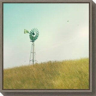 Canvas Art Framed 'Farm Morning IV Square (Windmill)' by Sue Schlabach