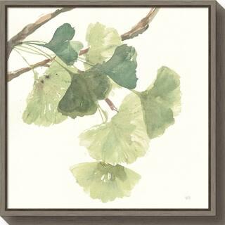 Canvas Art Framed 'Gingko Leaves I Light' by Chris Paschke