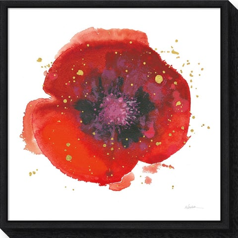Canvas Art Framed 'Splash V with Gold Poppy' by Shirley Novak