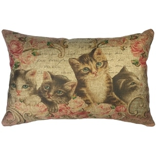 French Cats Linen Pillow