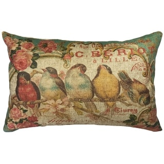Cottage Birds Linen Pillow