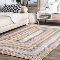 nuLOOM Blue Mutli Indoor Outdoor Contemporary Casual Cornered Frame Area Rug - 5' x 8'