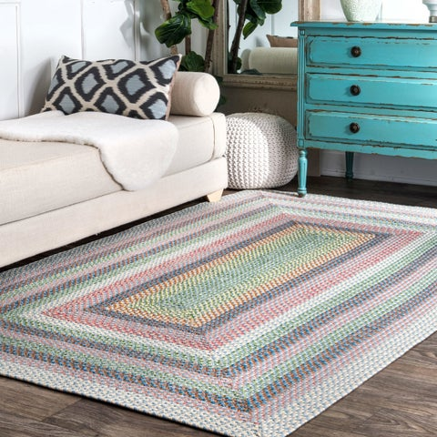 nuLOOM Pink Mutli Indoor Outdoor Contemporary Casual Cornered Frame Area Rug - 3' x 5'