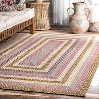nuLOOM Red Mutli Indoor Outdoor Contemporary Casual Cornered Frame Area Rug - 3' x 5'