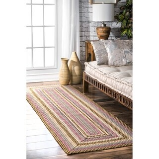 "nuLOOM Red Mutli Indoor Outdoor Contemporary Casual Cornered Frame Runner Area Rug - 2' 6"" x 8'"