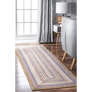"nuLOOM Blue Mutli Indoor Outdoor Contemporary Casual Cornered Frame Runner Area Rug - 2' 6"" x 8'"