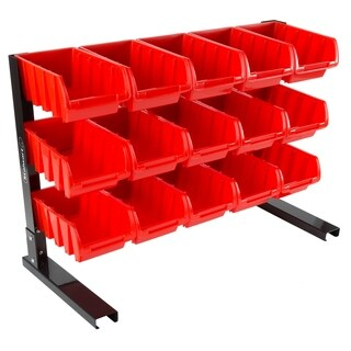 15 Bin Storage Rack Organizer- Durable Carbon Steel with Stackable Plastic Drawers by Stalwart