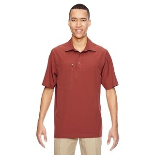 Ash City - North End mens Excursion Crosscheck Perf Woven Polo (85120)