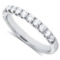 Annello by Kobelli 14k Gold 1/2ct TDW Flame French Pave DEF VS Lab Grown Diamond Comfort Fit Womens Wedding Band - White