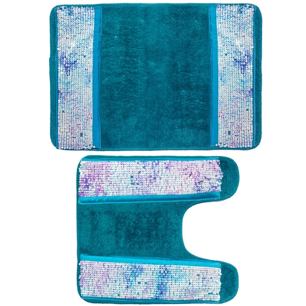 Shop Shimmering Aqua Seashell Bath And Contour Rug Set (As