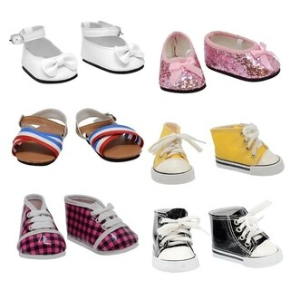 """Set of 6 18"""" doll shoes"""