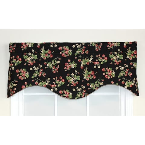 RLF Home Strawberry Fields Cornice Window Valance - Black