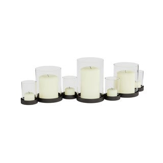 Multi Candle and Votive Holder- Handcrafted Iron Base and Glass Cup Inserts by Lavish Home (Matte Black)