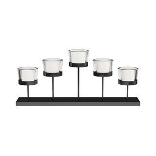 Tiered Votive Candle Holder- Handcrafted Iron and Glass Cup Centerpiece for 5 Tealights by Lavish Home (Matte Black)