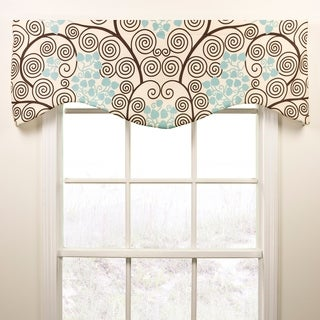 Pippa seafoam and brown shaped valance
