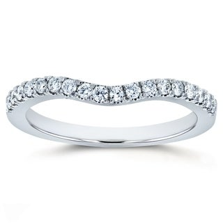 Annello by Kobelli 14k Gold 1/5ct TDW DEF VS Lab Grown Diamond Women's Curved Wedding Band
