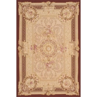 eCarpetGallery Hand Woven French Tapestry Dark Red, Ivory Wool Sumak