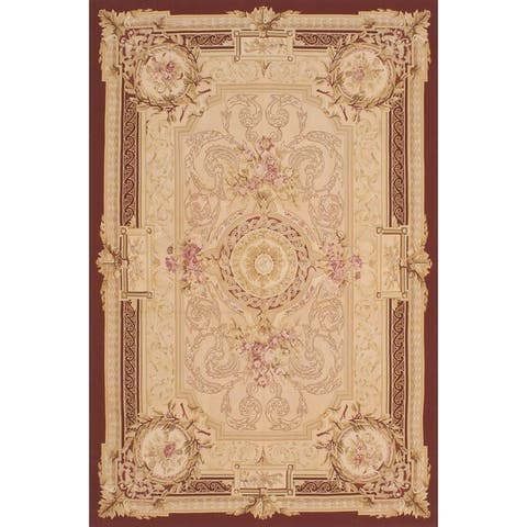 eCarpetGallery Hand Woven French Tapestry Dark Red, Ivory Wool Sumak